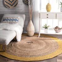 Rug Natural Jute Handmade Rug Round Reversible Braided Rug Modern Area Floor Mat