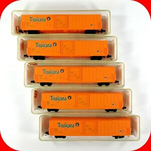 N Scale TROPICANA PC&F 62' Beer Reefer Box Car 5-Pack Set - RED CABOOSE RN-17215