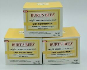 New Burt's Bees Night Cream With Royal Jelly, Skin Nourishment, 1.8oz, Lot Of 3