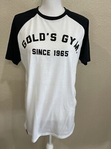 Gold's Gym Black White Perforated Raglan Crew Short Sleeve Top T-Shirt Large NWT