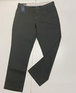 Ralph Lauren Men's Classic Fit Flat Front Chino. Size-38W-32L In Dark Grey
