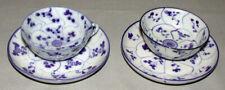 Original Antique Chinese Pair Porcelain Blue & White Cups & Saucers