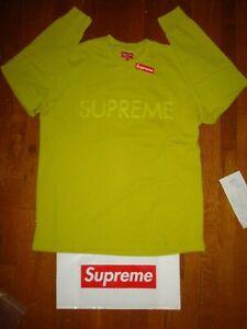 Supreme SS17 Pique Logo Long Sleeve Top/ Extra Large/ Acid Green