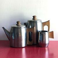 Tea & Coffee Pot plus Milk Jug With Wooden Handles Vintage