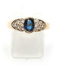 Sapphire and Diamond Ring 18 Carat Yellow Gold Size M