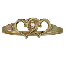 Black Hills Coleman 12K 10K Gold Diamond Accent Nested Hearts Ring Size 6 QVC