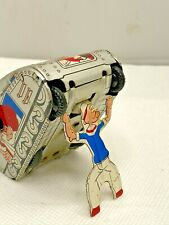 1950s MARX Linemar Popeye ROLL OVER Tank Tin Litho Wind Up WORKS !!