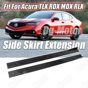 Fit For TLX RDX MDX RLX Acura Set of Side Skirt Extensions Body Kit Gloss Bk