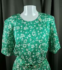 VTG  1990s Talbots Green White Floral  Dress with belt pockets shoulder pads