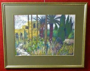 Original mixed media painting Eva Sharf Zircon Yacov Israel garden signed framed