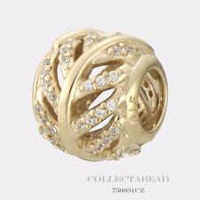 Authentic Pandora 14K Gold Light as a Feather Bead 750831CZ