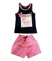 Girls/ Kids Size 0~16 Sleeveless Super Cute Printed Top & Shorts Set - Peach