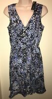 APT.9 Women's Ruffle Faux-Wrap Dress BLUE/BLACK/WHITE ABSTRACT Size M PETITE NWT