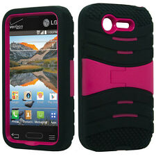 For Lg Optimus Fuel L34C Hard Gel Rubber KICKSTAND Case Phone Cover Accessory