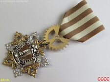Steampunk badge brooch pin drape Medal cream tan striped silver crown
