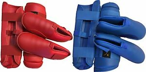 KARATE FOOT & SHIN Pads - 6 x sizes! - LOWEST UK PRICE! Red or Blue Colour