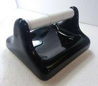 Black Ceramic Toilet Paper TP Holder Vintage Mid Century Modern Bathroom Gloss