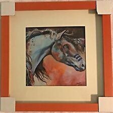 Marcia Baldwin Indian Warrior Horse Pony Shadow Box 14 x 14 Picture Art Western