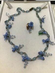 Vintage Blue Bird Lampwork Glass Bead NECKLACE TLC Restore or Rework...