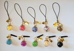 Cell Phone Charm Strap Dust Plug Keychain Custom Glass Star Ball w/ Gold Charms