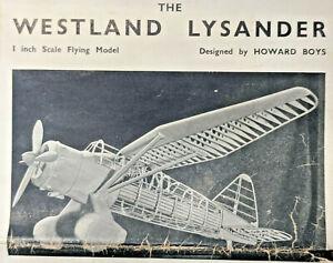 "50"" WESTLAND LYSANDER Balsa Model Airplane Plans Aeromodeller"