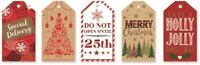 40 LUXURY GIFT TAGS MERRY CHRISTMAS HAPPY XMAS GIFT WRAPPING PRESENT RED NEW