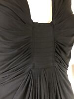 $2495 M Donna Karan black label draped ruched collection stretch jersey dress M