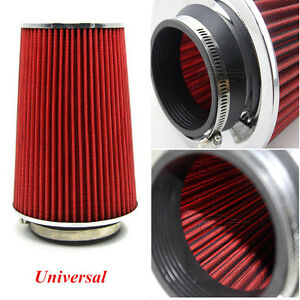 "Red 3"" Inlet Car Long Ram Cold Air Intake Filter Cone Filter KN Types Universal"