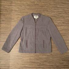 Adolfo Suits Women's Gray Long Sleeve Jacket Blazer Full Zip Plus Size 14 EUC