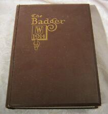 BADGER UNIVERSITY OF WISCONSIN 1914 COLLEGE YEARBOOK ANTIQUE