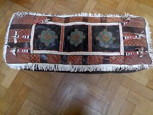 VINTAGE MOROCCAN REAL LEATHER SEAT PAD HIGHLY DECORATED WITH FRINGE & TASSELS