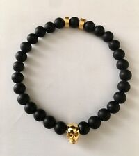 Mens Frosted Black Onyx & Sterling Silver Skull with 2 Beads