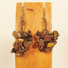 "1 1/2""  Drop Style Gold Color Stone Chip Handmade Dangle Seed Bead Earring"