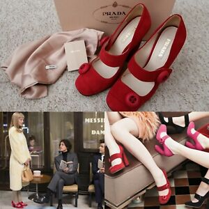 Prada Wes Anderson Coppola Red Mary Jane Button Pumps Candy 2011 39.5 6 6.5