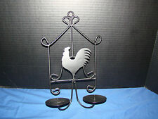 "Rooster Design Double Candle Holder Wall Hanger - Approx. 12 1/2"" Tall /8"" Wide"
