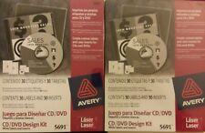 2x Lot Avery White Cd Dvd Design Kit Labels 5691 Laser Jewel Case Insert 30 Sets
