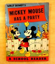 1938 Walt Disney's MICKEY MOUSE HAS A PARTY A School Reader Whitman DONALD DUCK
