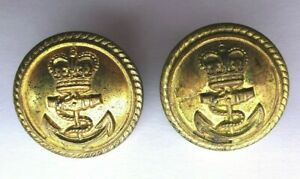 2 Victorian Royal Navy Officers Gilt Buttons 22 mm Buttons Ltd B,HAM