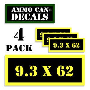 "9.3 x 62 mm Ammo Can Labels Ammunition Case sticker decals 4 pack  3""x1.15"" YW"