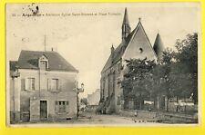 cpa FRANCE 36 - ARGENTON sur CREUSE indre Eglise Saint Etienne et place VOLTAIRE