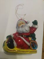 Vintage Hard Plastic Blow Mold Santa Clause In Sleigh Christmas Ornament