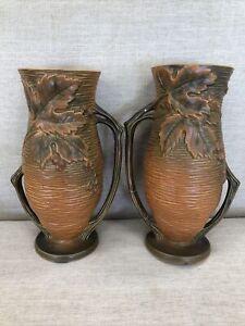 "Roseville Bushberry Brown 37-10"" Vase Great Condition With Bonus Roseville Vase"