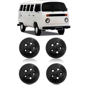 VW Bus T2 Type Wheel Hub Caps Cap Center Cover 4pcs Black 5 Lugs Plastic 5lugs