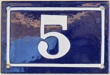 Old blue French house number 5 door gate plate plaque enamel metal sign c1950