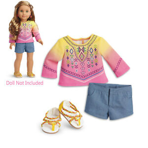 "American Girl LE LEA BAHIA OUTFIT for 18"" Dolls Lea's Sandals Clothes Beach NEW"