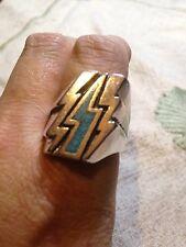 1980's Vintage Silver Southwestern Turquoise Inlay Lightning Bolt 14  Biker Ring