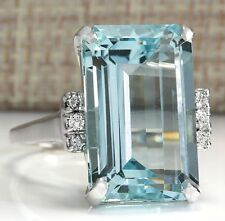 Women Fashion 925 Silver Emerald Cut Blue Aquamarine Wedding Jewelry Ring Sz5-12