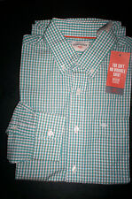 NWT $50 DOCKERS Soft No Wrinkle Long Sleeve Shirt Buttondown-Green plaid-SMALL