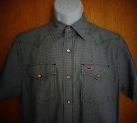 Hollister Black White Plaid Check Western Short Sleeve Shirt Mens sz M