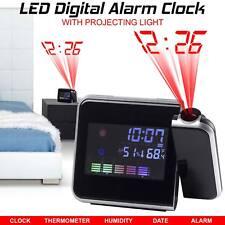 Reloj Despertador tiempo De Digital LED LCD Proyector Clima Termómetro repetición de alarma luz de fondo